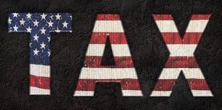 Federal income tax - USA. USA flag - federal income tax Royalty Free Stock Photos