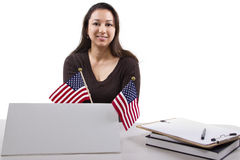 Federal Job. State or Federal female worker with a blank sign on her desk Stock Photo