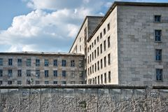 Federal ministry of finance behind the wall of Berlin, Germany Royalty Free Stock Image