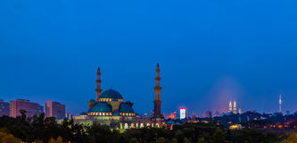 Federal Mosque. Sunset view federal mosque with KLCC & KL Tower royalty free stock images