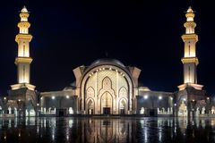 Federal Mosque of Kuala Lumpur at night with beautiful lighting. stock photos