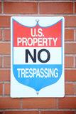 Federal No Trespassing sign Royalty Free Stock Photo