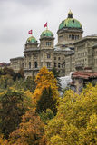 Federal Palace of Switzerland building on an overcast day in aut Royalty Free Stock Image