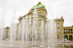 Federal Parliament. Bern, Switzerland. Fountain in front of the House of Parliament (Bundeshaus). Bern, Switzerland, Europe royalty free stock image