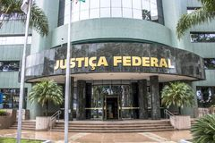 Federal police building. Curitiba, Brazil, December 29, 2017. Facade of the headquarters of the Federal Court, in Curitiba Royalty Free Stock Images