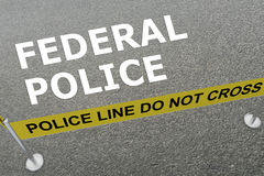 Federal Police concept. 3D illustration of FEDERAL POLICE title on the ground in a police arena Stock Photography
