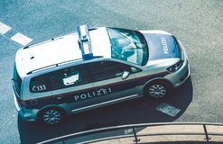 Federal Police Pursuit. Federal Police Cruiser in Austria. Bird Eye View. Police Vehicle on the City Street. Polizei stock photos