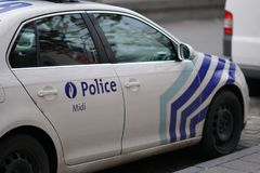 Federal Police vehicle in Brussels, Belgium stock photography
