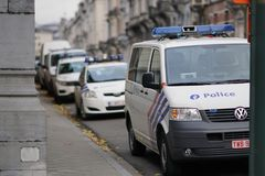 Federal Police vehicles in Brussels, Belgium. Brussels, Belgium - December 9, 2017: Police vans. The Politie, Federal Police, is the Law enforcement in Belgium royalty free stock photos