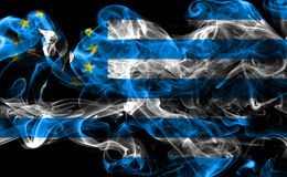 Federal Republic of Southern Cameroons smoke flag, dependent territory flag.  Stock Photo