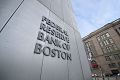 Federal reserve bank of boston. A shot of the signage of federal reserve bank of boston Royalty Free Stock Photos
