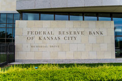 Federal Reserve Bank of Kansas City. Modern architecture building in urban city environment and government role in the US Banking system Royalty Free Stock Photo