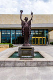 Federal Reserve Bank Statues in Kansas City. Landmark Statues located outside the Federal Reserve Bank of Kansas City. Modern architecture building in urban city Royalty Free Stock Photos