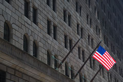 Federal Reserve building & American Flag, New York Royalty Free Stock Photos