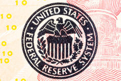 Federal Reserve icon on a ted dollar bill. Macro photo Stock Images