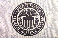 Federal Reserve-Ikone auf einem fünfzig Dollarschein Stockfotografie