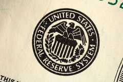 Federal reserve seal. Macro of the Federal Reserve seal printed on a US banknote Stock Photography