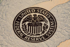 Federal Reserve Seal. Closeup detail of the seal of the Federal Reserve royalty free stock photography