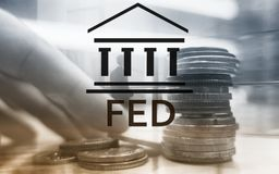 Federal Reserve System - FED. Banking Economy Concept. Double exposure background. stock images