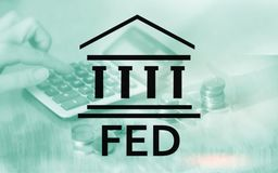 Federal Reserve System - FED. Banking Economy Concept. Double exposure background. stock photography