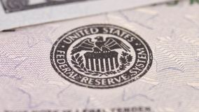 Federal Reserve System. Icon on United States dollar bill stock video