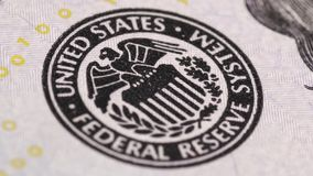 Federal Reserve System. Saransk, Russia - February 5, 2017: Federal Reserve System Seal on United States dollar bill stock video footage