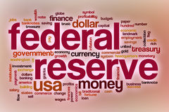 Federal reserve word cloud with abstract background. Federal reserve word cloud concept with abstract background Stock Photography