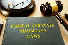Federal and State Marijuana Laws and gavel. Federal and State Marijuana Laws and gavel in a court stock photo