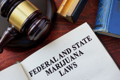 Federal and State Marijuana Laws. Title on a book and gavel royalty free stock photos