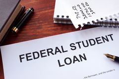 Federal student loan form. stock images