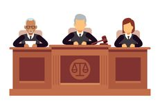 Federal supreme court with judges. Jurisprudence and law vector concept. Illustration of legal court, judge and justice royalty free illustration