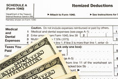 Federal Tax Forms for Items Deductions Royalty Free Stock Photo