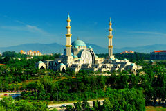 The Federal Territory Mosque or Masjid Wilayah Persekutuan. Is a major mosque in Kuala Lumpur, Malaysia. It is located near MATRADE complex and the Federal Royalty Free Stock Photo