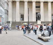 Federala Hall med Washington Statue på framdelen, Manhattan, New York City Royaltyfri Foto