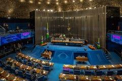 Federale Senaats Plenaire Kamer bij Braziliaans Nationaal Congres - Brasilia, Federale Distrito, Brazilië stock foto's