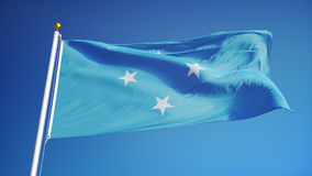 Federated States of Micronesia flag in slow motion seamlessly looped with alpha. Federated States of Micronesia flag waving in slow motion against blue sky stock video