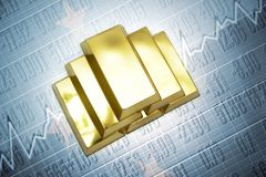 Federated States of Micronesia gold reserves. Shining golden bullions lie on a Federated States of Micronesia flag background Royalty Free Stock Photo