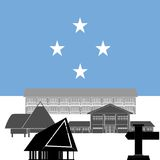 Federated States of Micronesia. National flag of Federated States of Micronesia and architectural attractions. The illustration on a white background Stock Photo