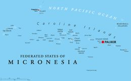 Federated States of Micronesia political map. With capital Palikir. An independent sovereign island nation consisting of four united states spread across the Stock Images