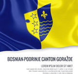 Federatie van het Kanton GoraÅ ¾ DE flag van bosnisch-Podrinje van de staat van Bosnië-Herzegovina Stock Afbeeldingen