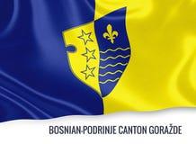 Federatie van het Kanton GoraÅ ¾ DE flag van bosnisch-Podrinje van de staat van Bosnië-Herzegovina Stock Fotografie