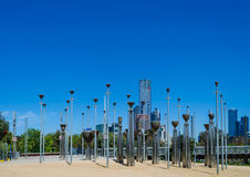 Federation Bells,Birrarung Marr,Melbourne,Australia. Record: 29th October,2016 Federation Bells in Birrarung Marr park. A popular tourist attraction in Melbourne stock photography