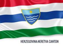 Federation of Bosnia and Herzegovina state Herzegovina-Neretva Canton flag. Stock Image