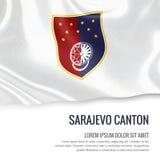 Federation of Bosnia and Herzegovina state Sarajevo Canton flag. Stock Photos