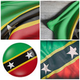Federation of Saint Christopher and Nevis flag waving Royalty Free Stock Photography