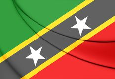 Federation of Saint Kitts and Nevis Flag. 3D Illustration Royalty Free Stock Images