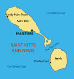 Federation of Saint Kitts and Nevis - vector map. Federation of Saint Kitts and Nevis - vector  map Stock Images