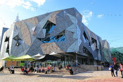 Federation Square contemporary architecture Melbourne. Modern SBS building Federation Square in Melbourne Australia royalty free stock photos