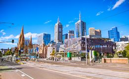 Federation Square in Melbourne, Australia. Federation Square in Melbourne on suny day, Australia royalty free stock photography