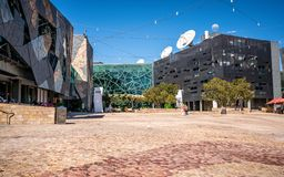 Federation square view with ACMI building in centre in Melbourne Victoria Australia stock images